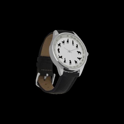 Conceptual Novelty Dog O'Clock Men's Leather Strap Analog Watch(Model 209)
