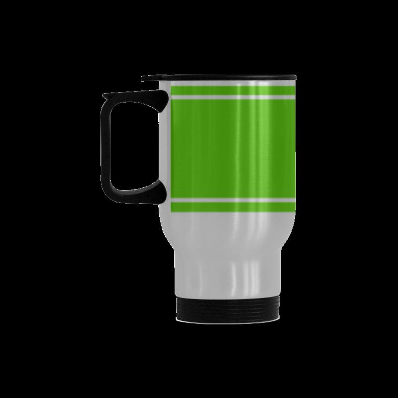 Green Ribbon Design Your Name Travel Mug (Silver) (14 Oz)