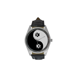 Cute Paw Yin Yang Men's Casual Leather Strap Watch(Model 211)