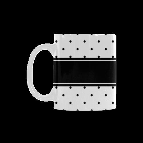 Black Dots White Ribbon your Name White Mug(11OZ)