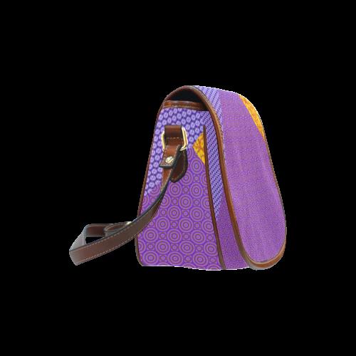 Orange and Purple Clash Saddle Bag/Large (Model 1649)
