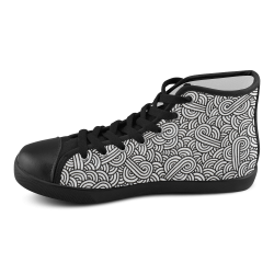 Black and white swirls doodles Women's High Top Canvas Shoes (Model 002)
