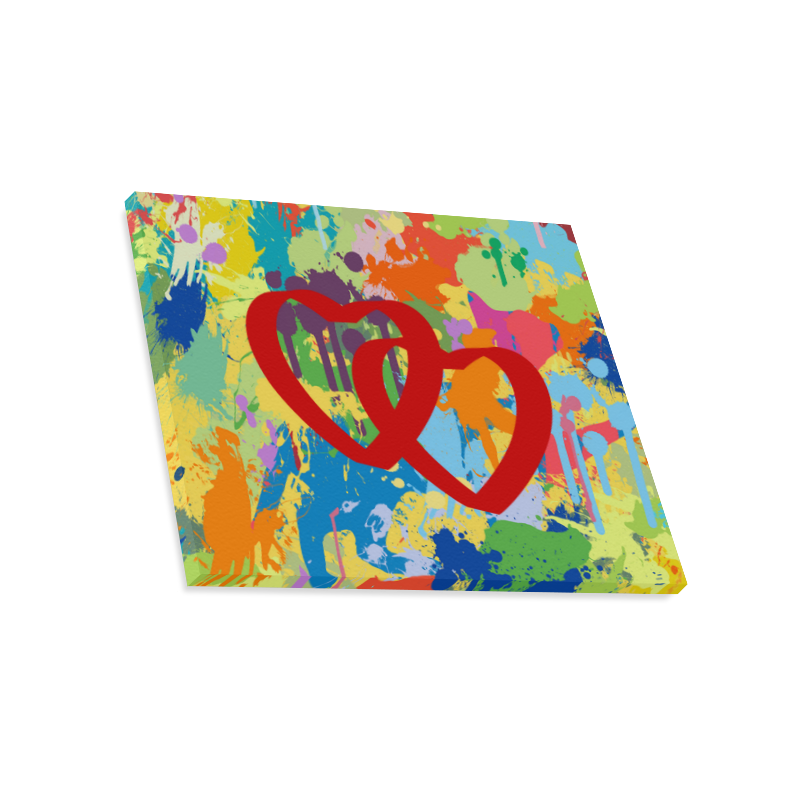 "Love Red Hearts Colorful Splash Design Canvas Print 20""x16"""