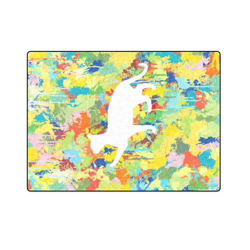 "Lovely Cat Colorful Splat Complet Blanket 58""x80"""