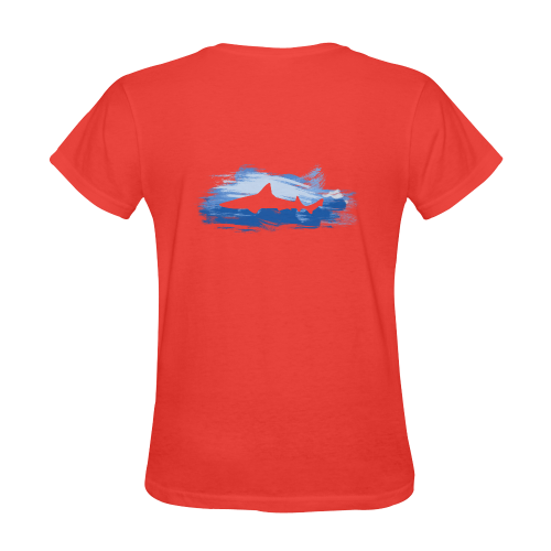 Shark Shape Red Blue Painting Sunny Women's T-shirt (Model T05)