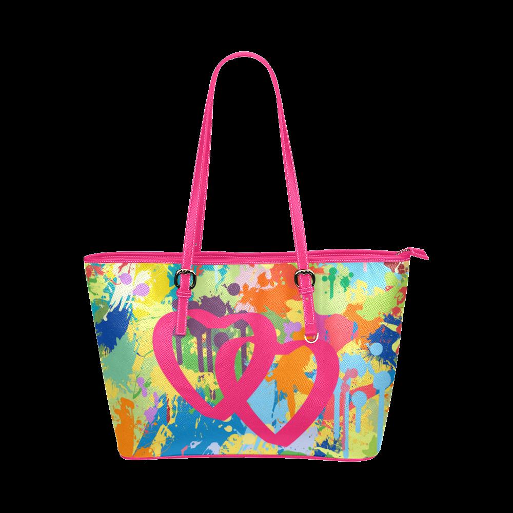Love Pink Hearts Colorful Splat Design Leather Tote Bag/Large (Model 1651)