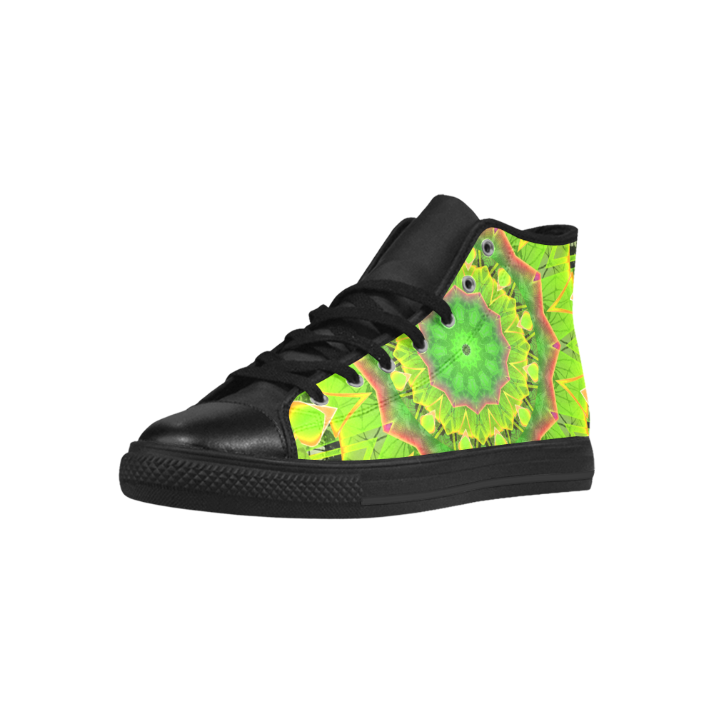 Golden Green Foliage Ferns Abstract Summer Days Aquila High Top Microfiber Leather Women's Shoes (Model 027)