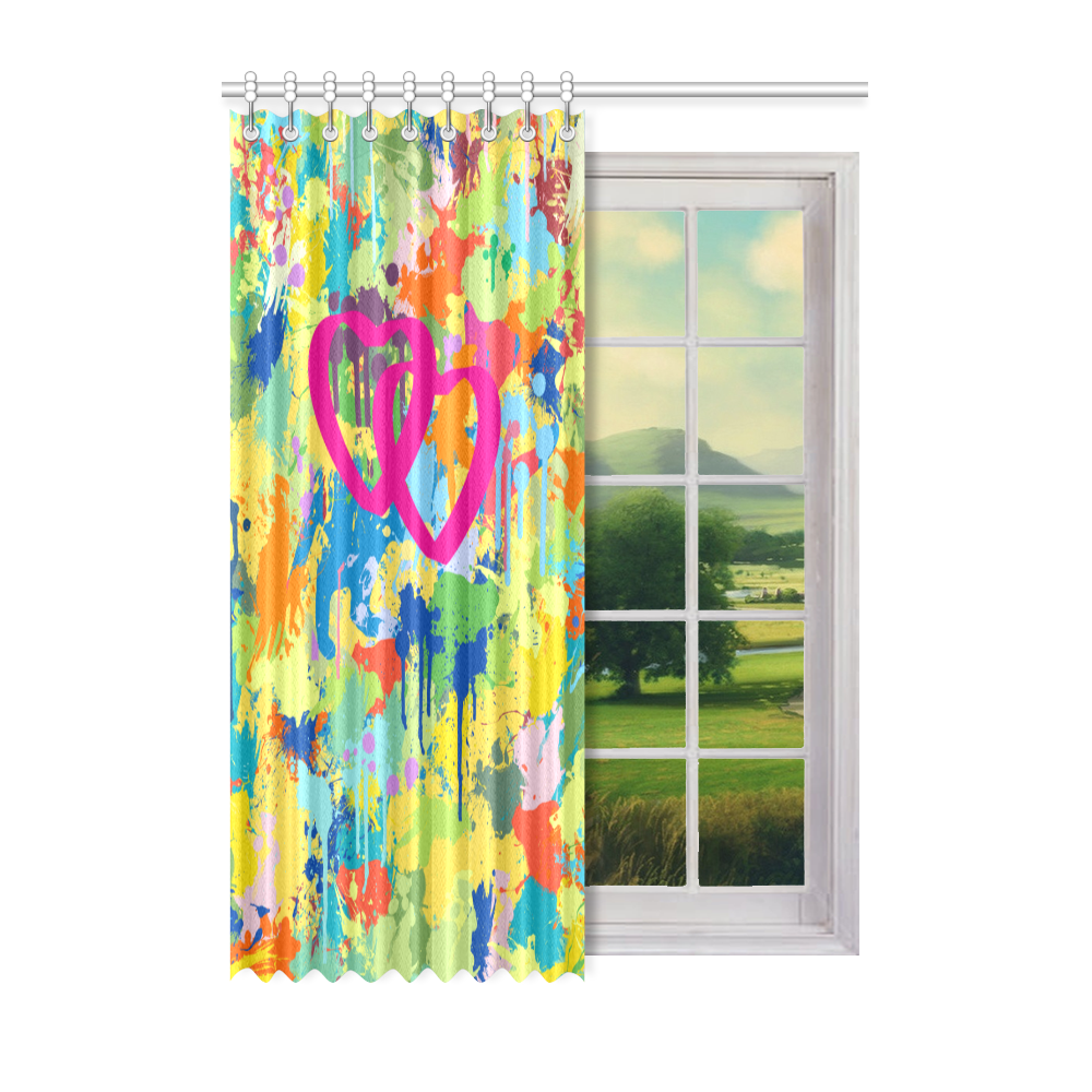 """Love Pink Hearts Colorful Splat Design Window Curtain 52"""" x 72""""(One Piece)"""