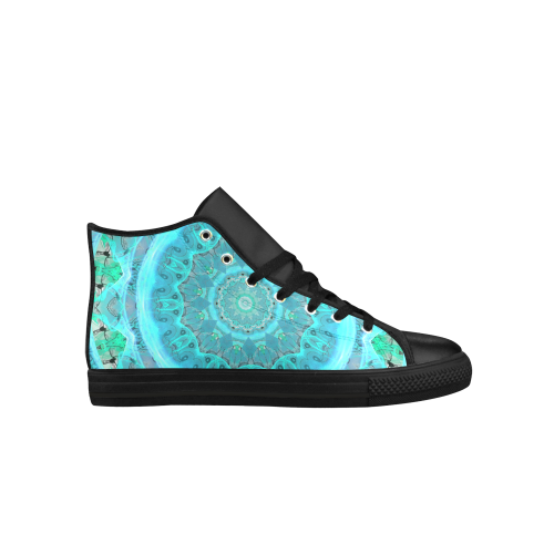 Teal Cyan Ocean Abstract Modern Lace Lattice Aquila High Top Microfiber Leather Women's Shoes (Model 027)
