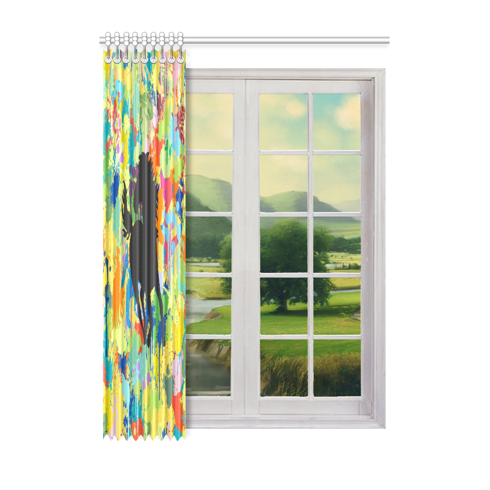 "Horse Black Shape Template Colorful Splat Window Curtain 52"" x 72""(One Piece)"
