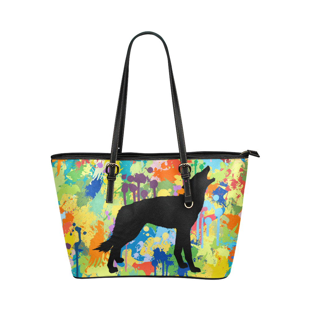 Free Wolf Black Colorful Splat Complete Leather Tote Bag/Large (Model 1651)