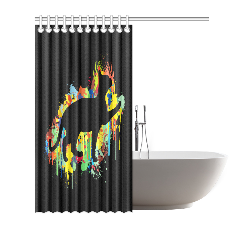 "Lovely Cat Colorful Painting Splash Black Shower Curtain 72""x72"""