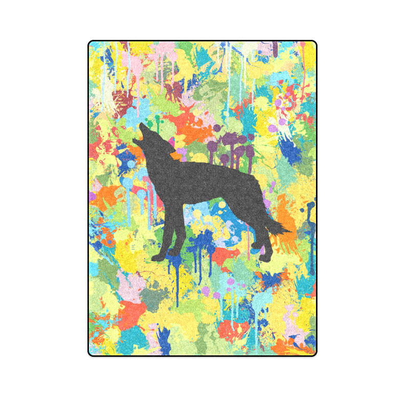"""Free Wolf Colorful Splat Complete Blanket 58""""x80"""""""