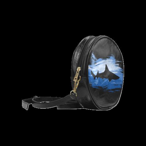 Shark Shape Template Blue Painting Round Sling Bag (Model 1647)