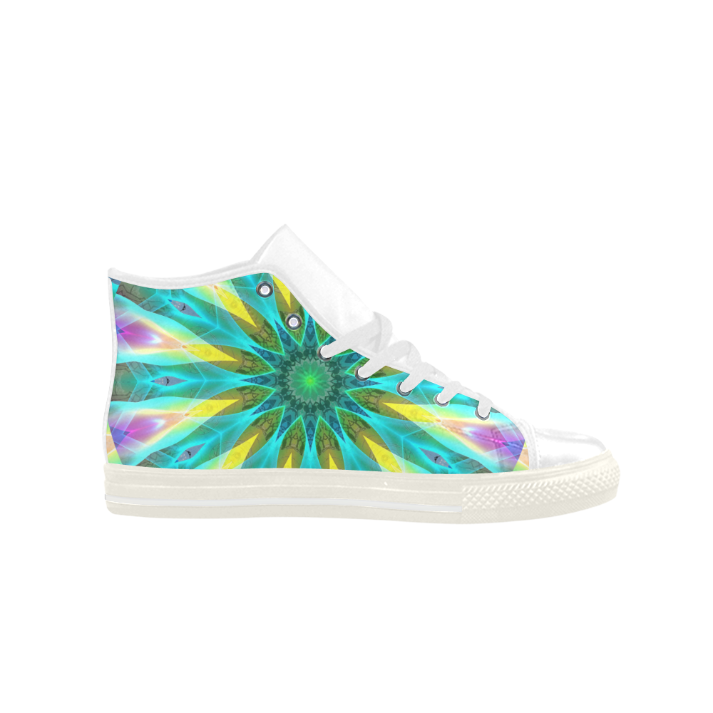 Golden Violet Peacock Sunrise Abstract Wind Flower Aquila High Top Microfiber Leather Women's Shoes (Model 027)