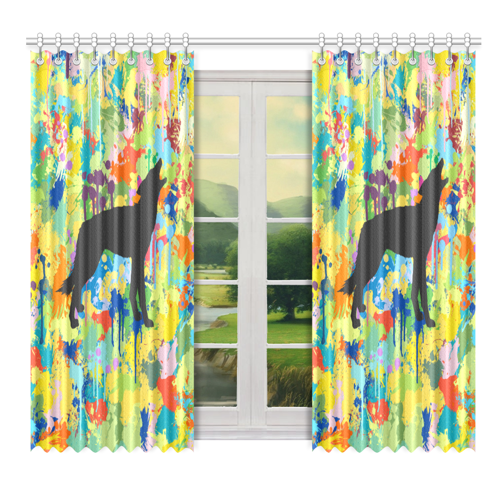 """Free Wolf Black Colorful Splat Complete Window Curtain 52"""" x 72""""(One Piece)"""