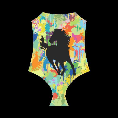 Black Horse Shape Colorful Splash Strap Swimsuit ( Model S05)