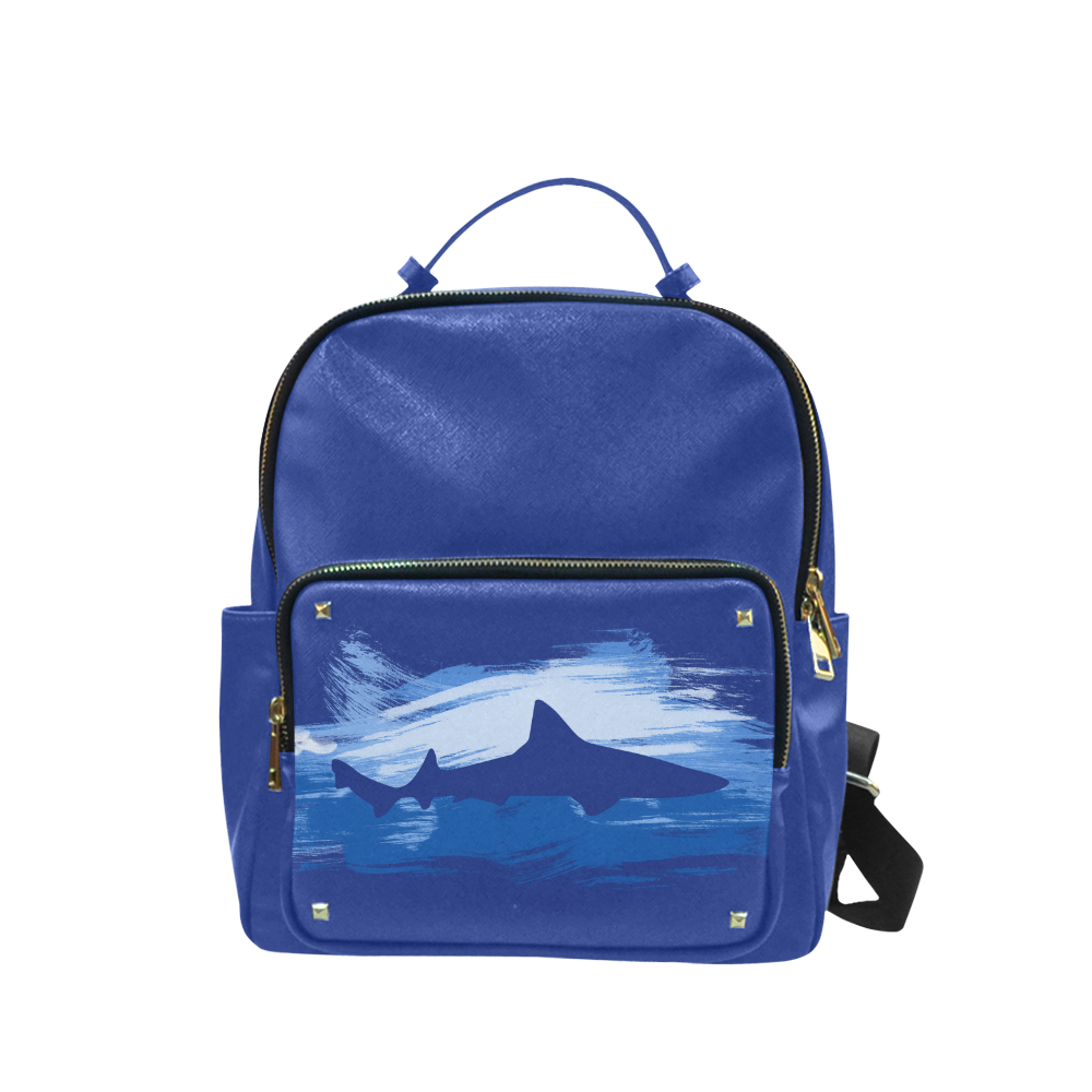 Shark Shape Template Blue Painting Campus backpack/Small (Model 1650)