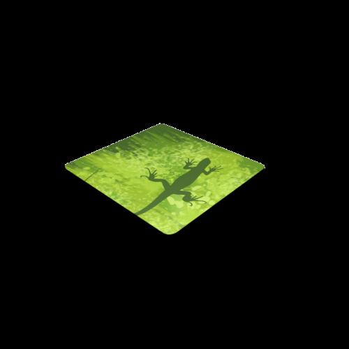 Green Lizard Shape Painting Square Coaster
