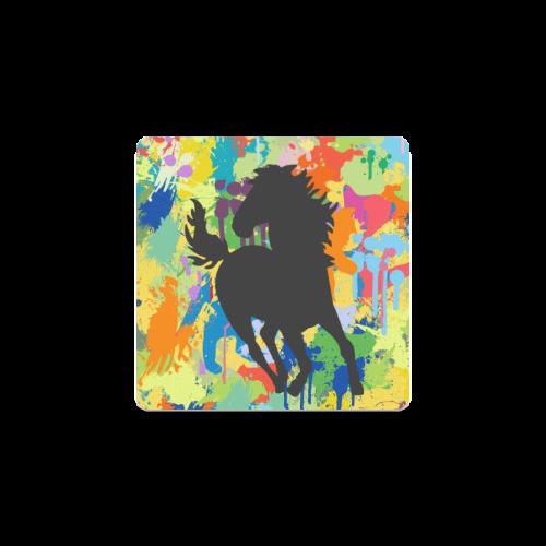 Black Horse Shape Template Colorful Splat Square Coaster