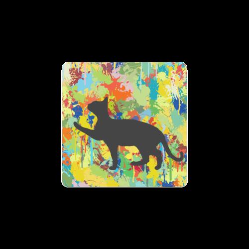 Lovely Black Cat Colorful Splash Complet Square Coaster