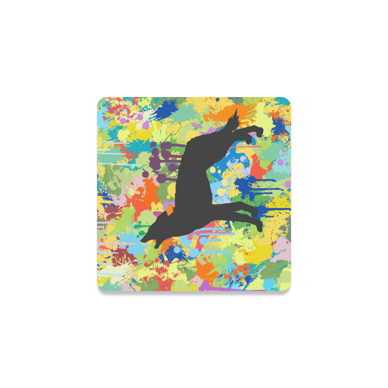 Free Black Wolf Colorful Splat Complete Square Coaster