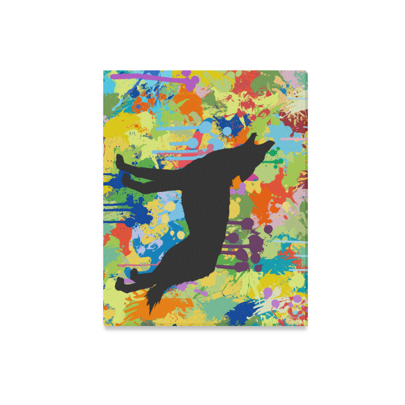 "Free Black Wolf Colorful Splat Complete Canvas Print 20""x16"""