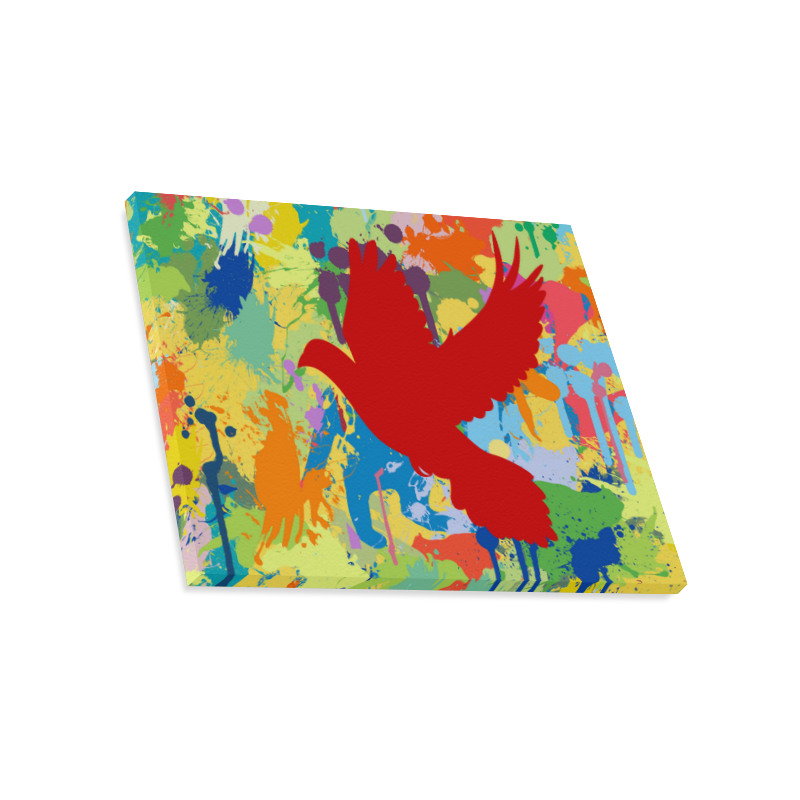 """Red Dove White Colorful Splat Complete Canvas Print 20""""x16"""""""
