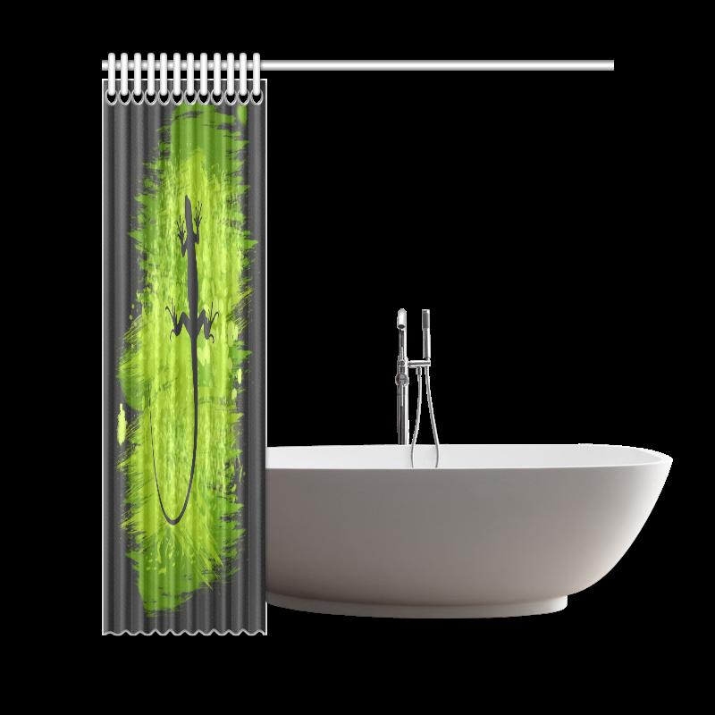 "Green Lizard Shape Painting Shower Curtain 69""x72"""
