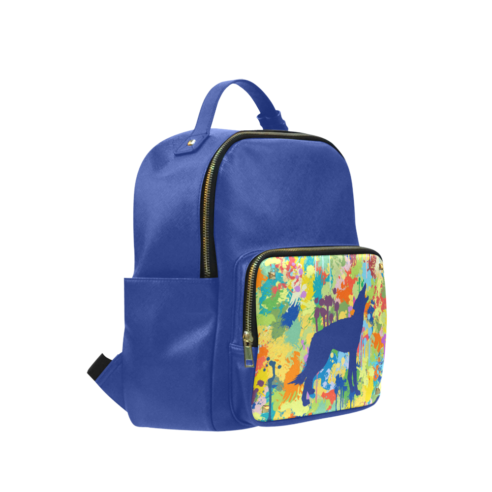 Free Wolf Blue Colorful Splat Complete Campus backpack/Small (Model 1650)