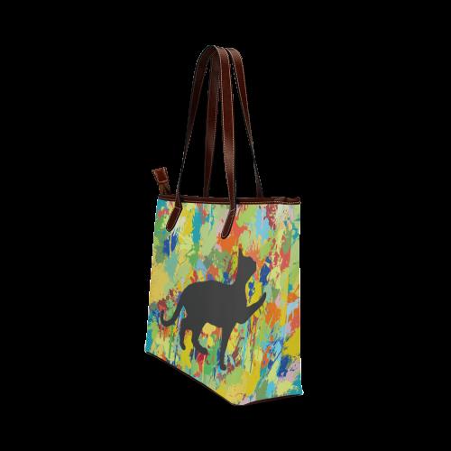 Lovely Black Cat Colorful Splash Complet Shoulder Tote Bag (Model 1646)