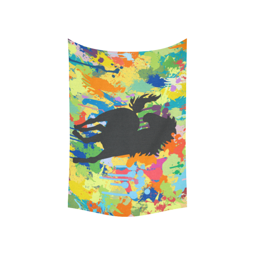 """Horse Shape Template Colorful Splat Cotton Linen Wall Tapestry 60""""x 40"""""""