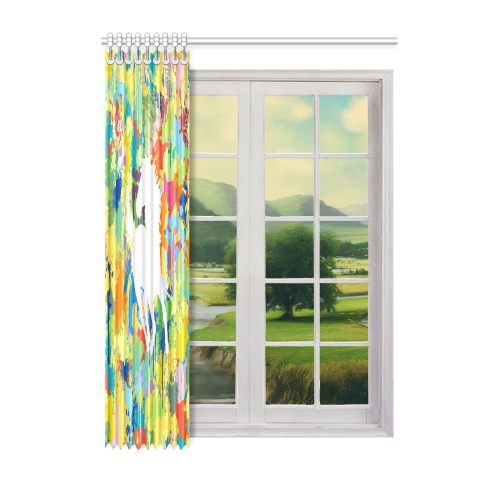"Horse White Shape Template Colorful Splat Window Curtain 52"" x 72""(One Piece)"