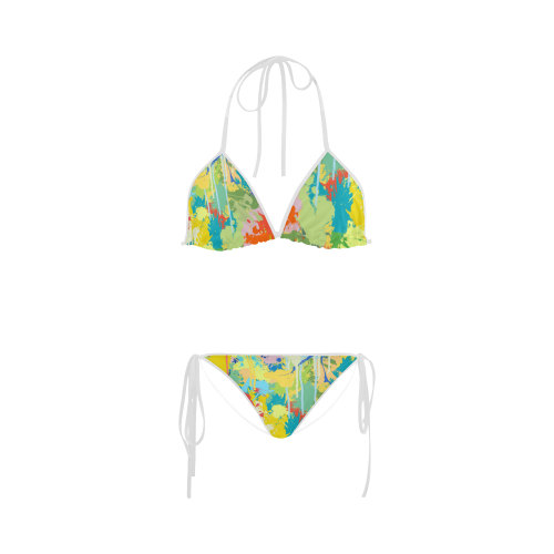 Lovely Cat Backside Colorful Splash Complet Custom Bikini Swimsuit
