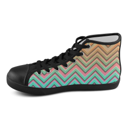 3-D Chevron Pattern Women's High Top Canvas Shoes (Model 002)