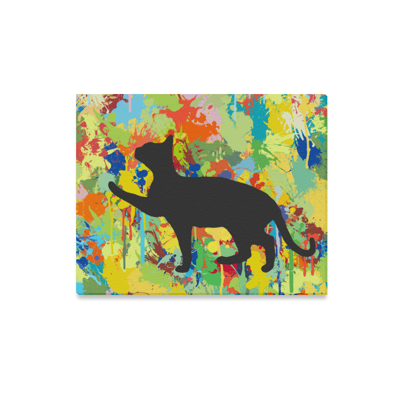 """Lovely Cat Colorful Splash Complet Canvas Print 20""""x16"""""""