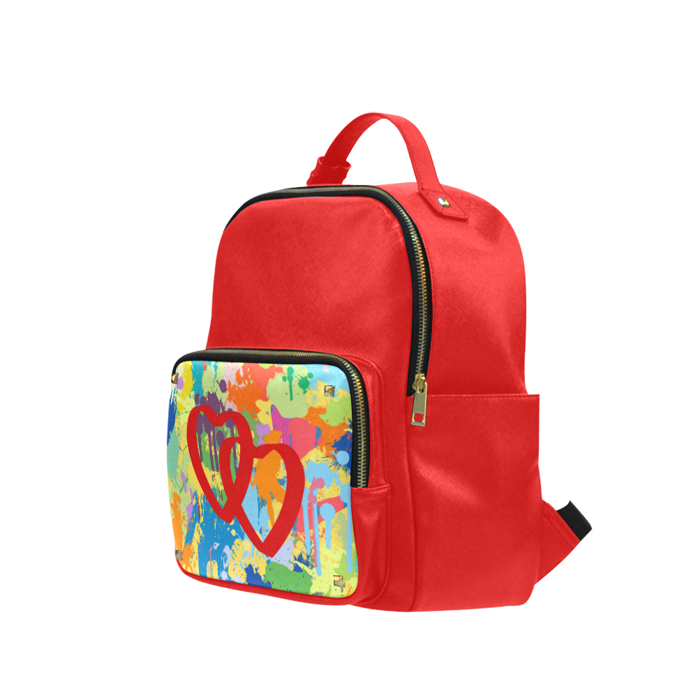 Love Red Hearts Colorful Splat Design Campus backpack/Small (Model 1650)