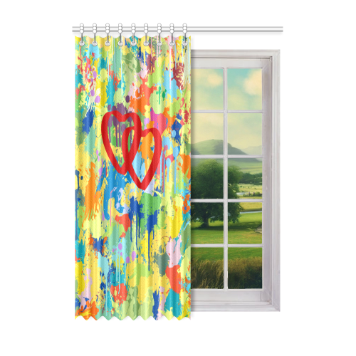 """Love Red Hearts Colorful Splat Design Window Curtain 52"""" x 72""""(One Piece)"""