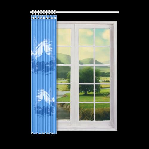 "Shark Shape Template Blue Painting Window Curtain 52"" x 72""(One Piece)"