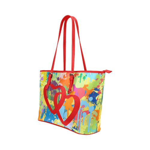 Love Red Hearts Colorful Splat Design Leather Tote Bag/Large (Model 1651)