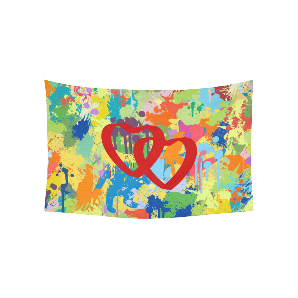 "Love Red Hearts Colorful Splash Design Cotton Linen Wall Tapestry 60""x 40"""