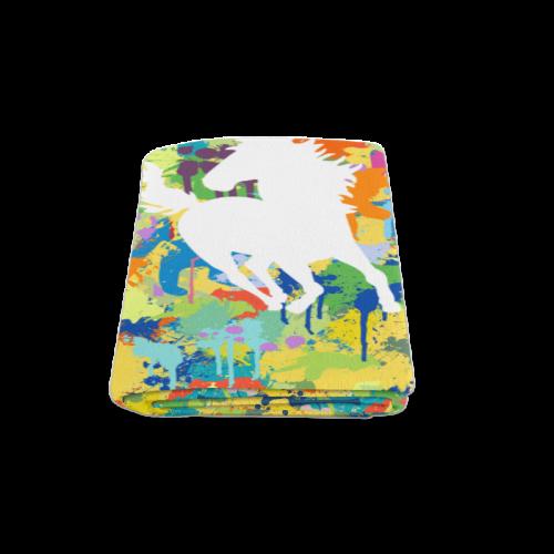 "Horse Shape Template Colorful Splat Blanket 58""x80"""