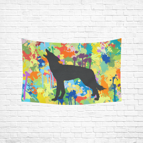 "Free Black Wolf Colorful Splat Complete Cotton Linen Wall Tapestry 60""x 40"""