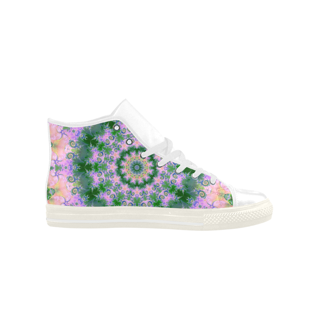 Rose Pink Green Explosion of Flowers Mandala Aquila High Top Microfiber Leather Women's Shoes (Model 027)