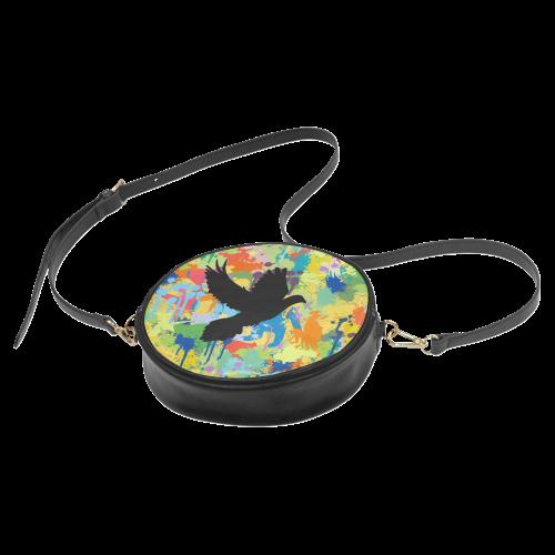 Dove Black Colorful Splat Complete Round Sling Bag (Model 1647)