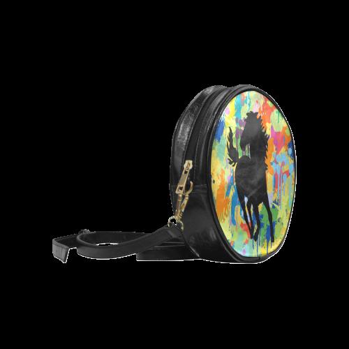 Horse Black Shape Template Colorful Splat Round Sling Bag (Model 1647)