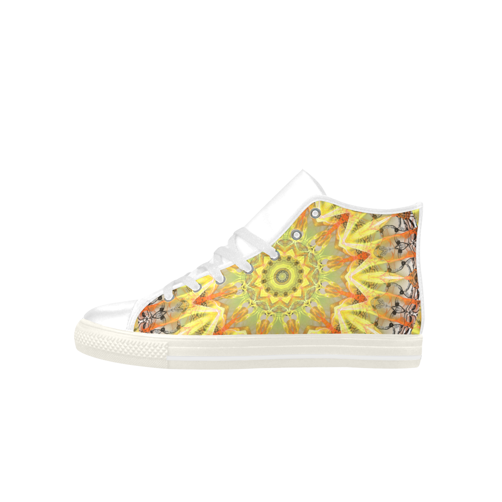 Golden Feathers Orange Flames Abstract Lattice Aquila High Top Microfiber Leather Women's Shoes (Model 027)