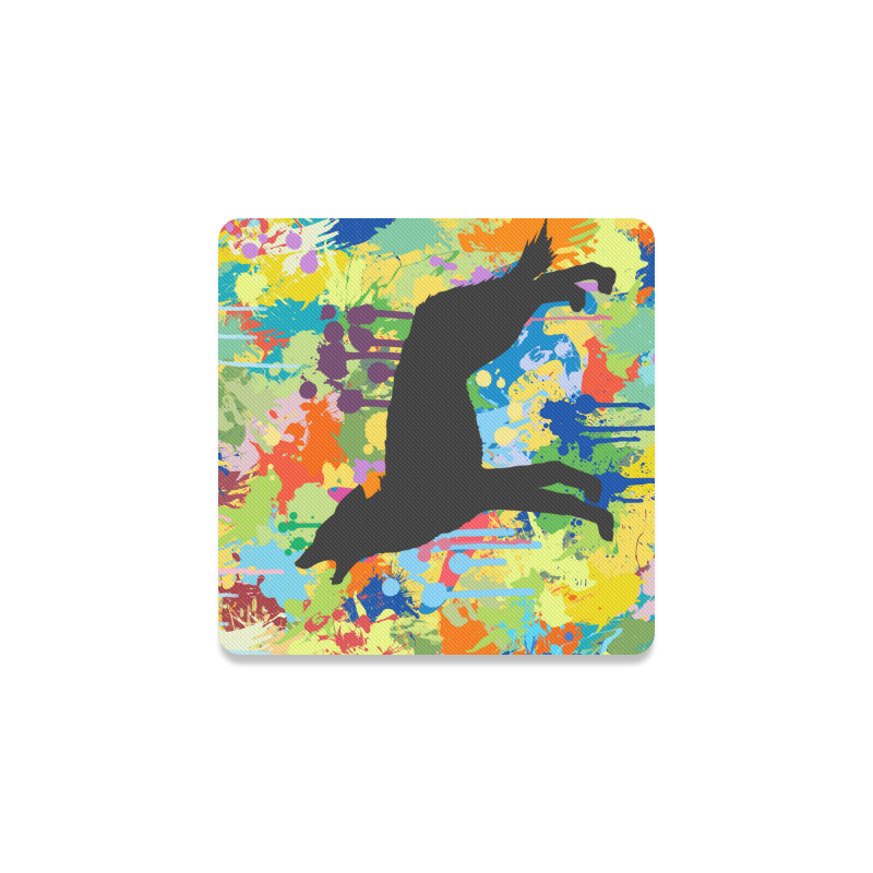 Free Wolf Colorful Splat Complete Square Coaster