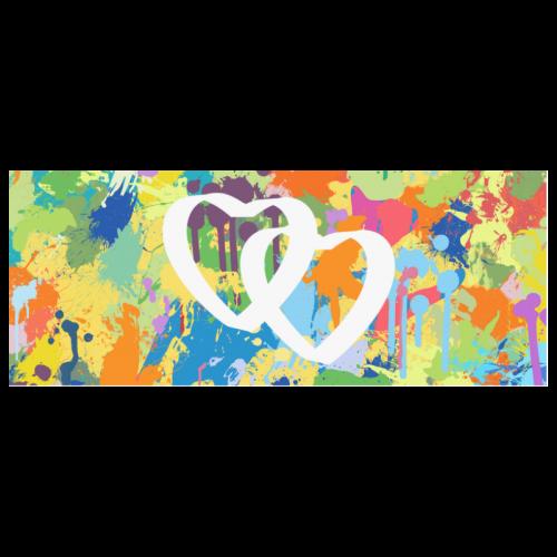 Love Hearts Colorful Splash Design White Mug(11OZ)
