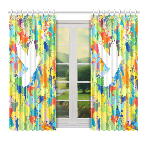 """Dove White Colorful Splat Complete Window Curtain 52"""" x 72""""(One Piece)"""